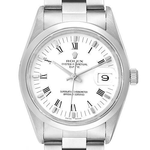 Photo of Rolex Date Domed Bezel Oyster Bracelet Steel Mens Watch 15200 Box