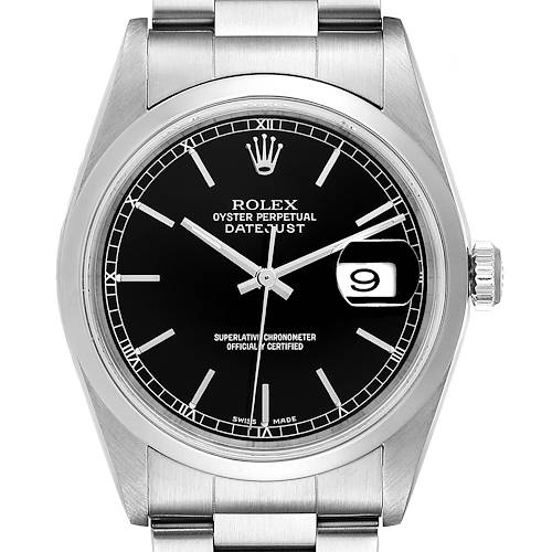 Photo of Rolex Datejust Black Dial Steel Mens Watch 16200 Box