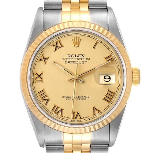 Photo of Rolex Datejust Steel Yellow Gold Champagne Roman Dial Mens Watch 16233 Box
