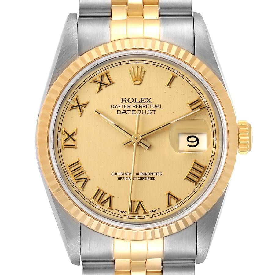 Rolex Datejust Steel Yellow Gold Champagne Roman Dial Mens Watch 16233 Box Papers SwissWatchExpo