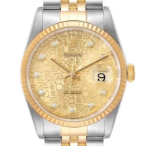 Photo of Rolex Datejust Steel Yellow Gold Jubilee Diamond Dial Mens Watch 16233 Box