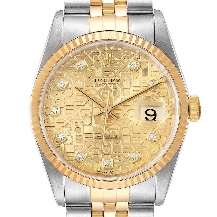 Rolex Datejust Steel Yellow Gold Jubilee Diamond Dial Mens Watch 16233 Box SwissWatchExpo