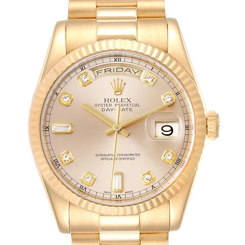 Photo of Rolex President Day Date Yellow Gold Diamond Mens Watch 118238 Box Papers