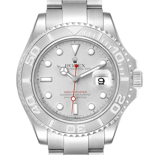 Photo of Rolex Yachtmaster 40 Steel Platinum Dial Bezel Mens Watch 16622 Box