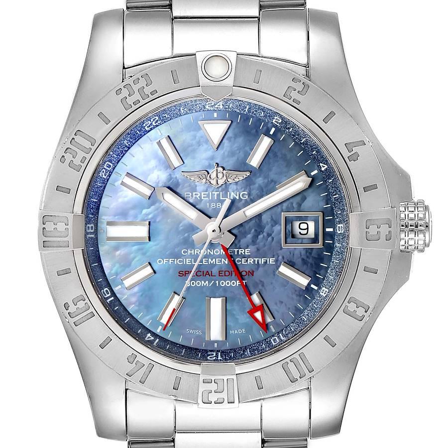 Breitling Aeromarine Avenger II GMT Blue MOP Dial Watch A32390 Box SwissWatchExpo