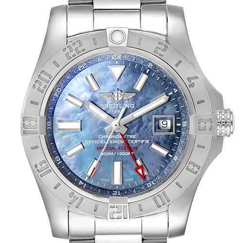 Breitling Aeromarine Avenger II GMT Blue MOP Dial Watch A32390 Box