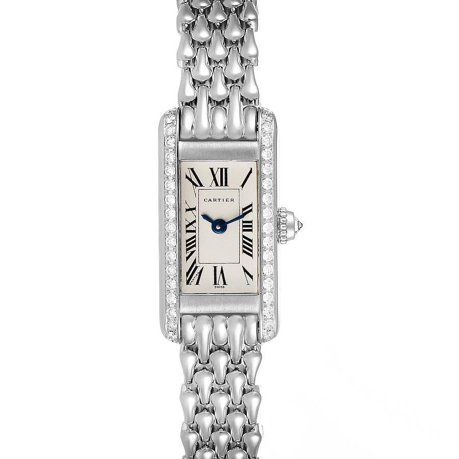Cartier Tank Louis Mini White Gold Diamond Ladies Watch 1381 SwissWatchExpo
