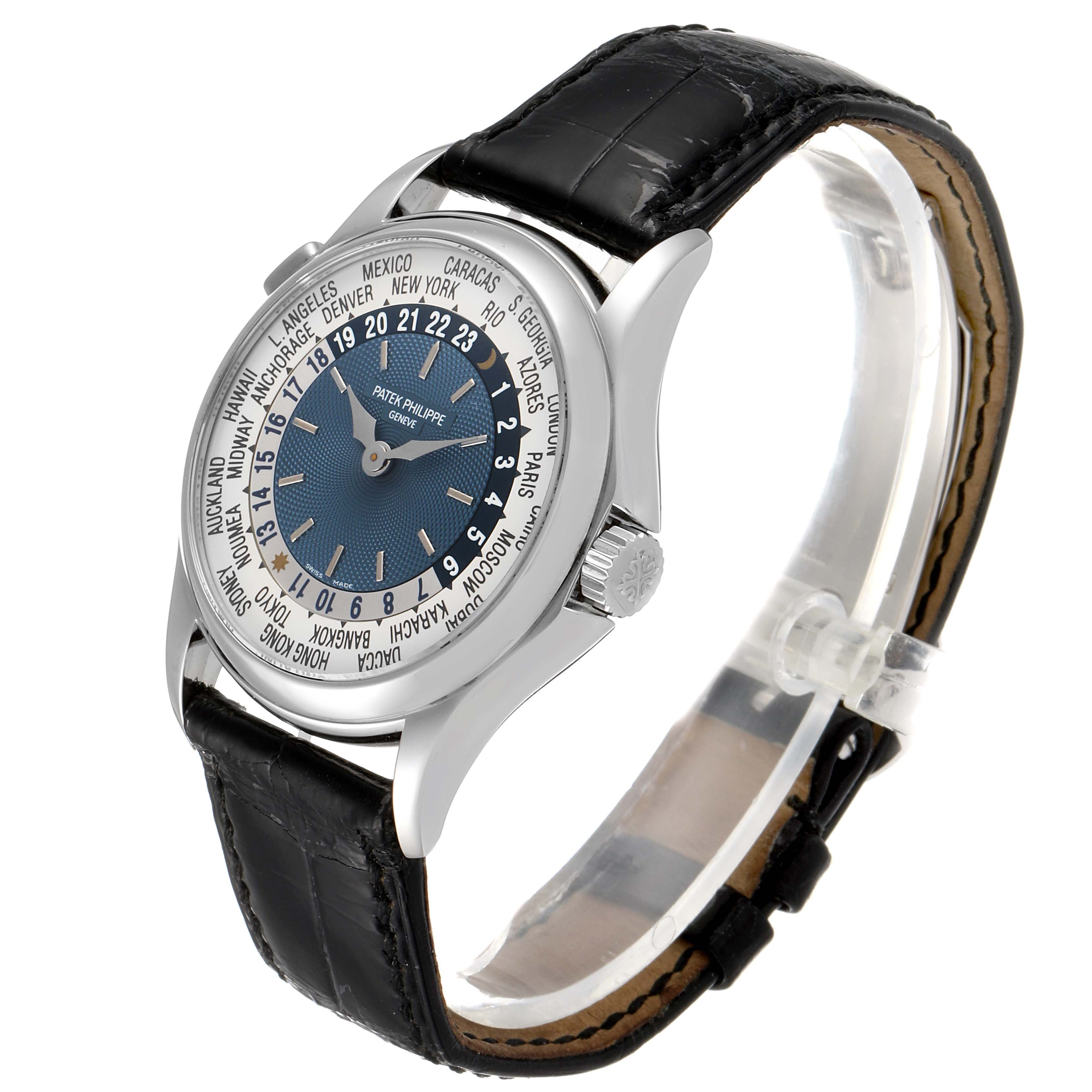 Patek Philippe World Time Complications Platinum Watch 5110 Box Papers SwissWatchExpo