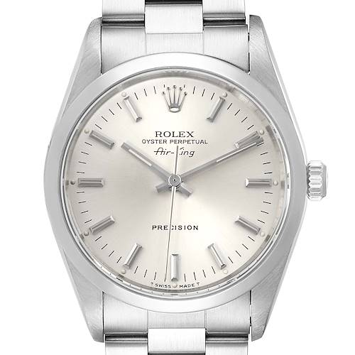 Photo of Rolex Air King 34mm Silver Dial Smooth Bezel Steel Mens Watch 14000 Papers