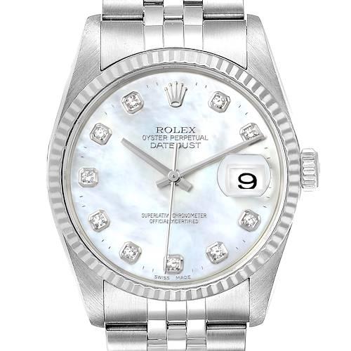 Photo of Rolex Datejust Steel White Gold MOP Diamond Mens Watch 16234