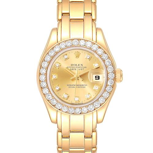 Photo of Rolex Pearlmaster Yellow Gold Diamond Dial Ladies Watch 69298
