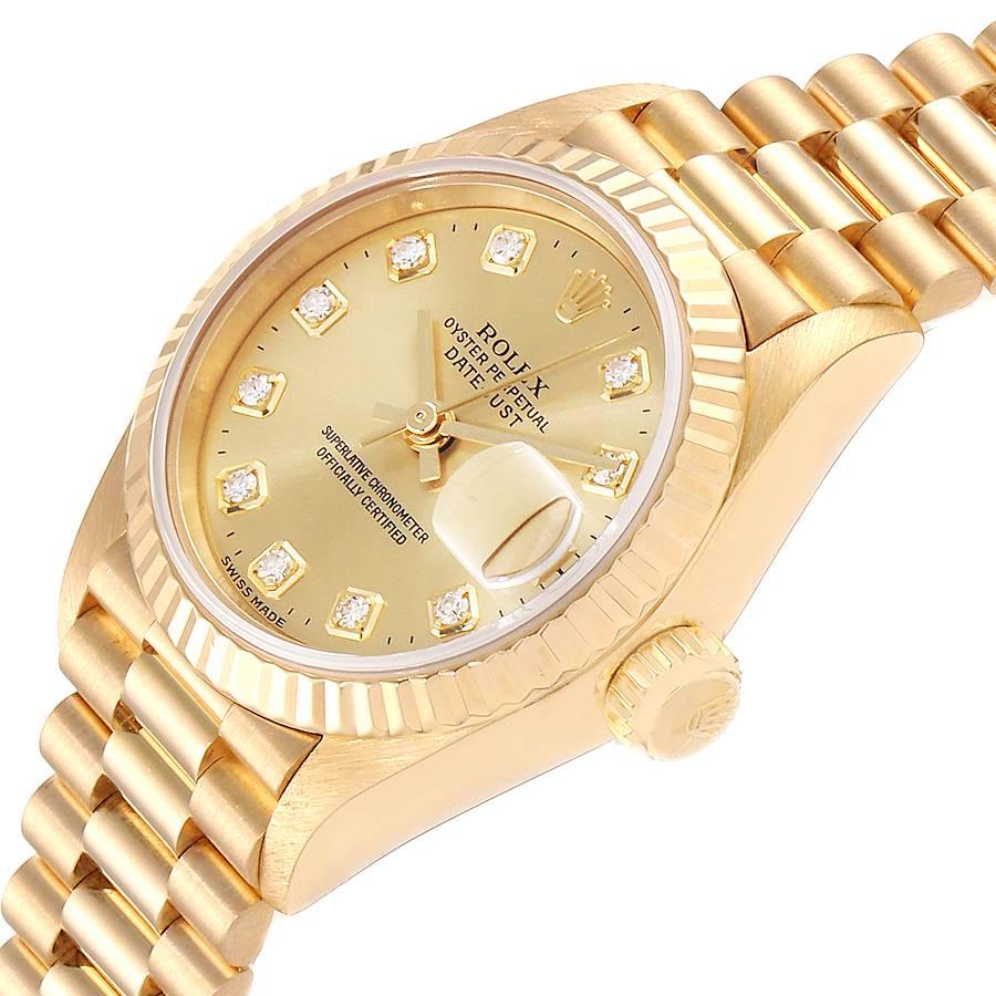 Rolex President Datejust Yellow Gold Diamond Ladies Watch 69178 Box Papers SwissWatchExpo