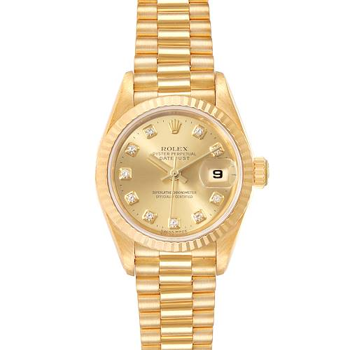 Photo of Rolex President Datejust Yellow Gold Diamond Ladies Watch 69178 Box Papers
