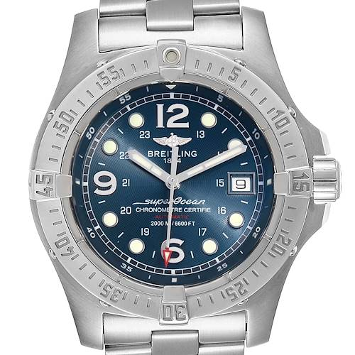 Photo of Breitling Aeromarine Superocean Steelfish Blue Dial Mens Watch A17390 Box