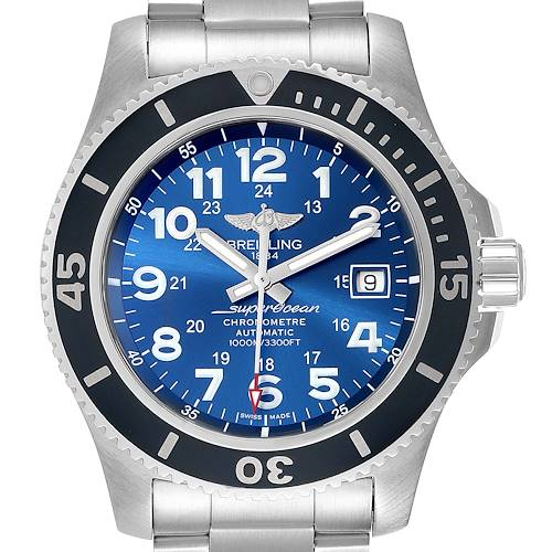 Photo of Breitling Superocean II 44 Gun Blue Dial Mens Watch A17392 Box Papers