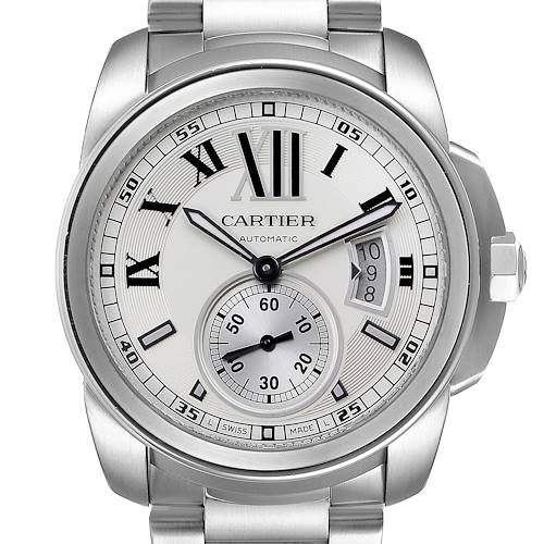 Photo of Calibre De Cartier Silver Dial Steel Automatic Mens Watch W7100015 Box