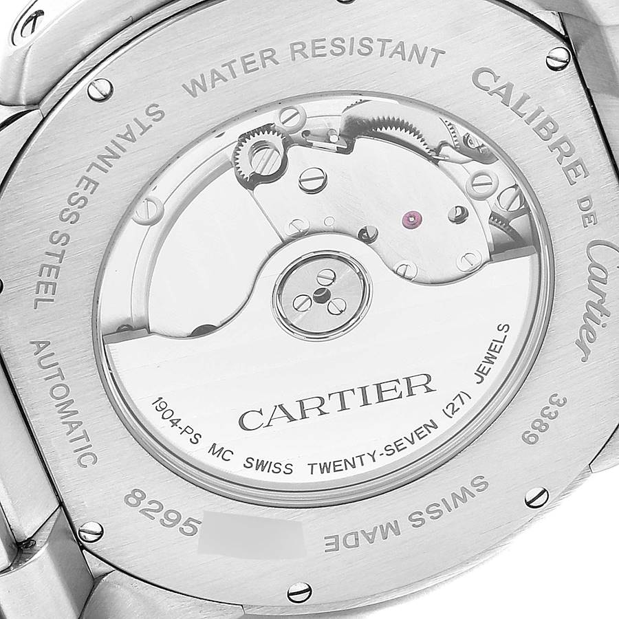 Calibre De Cartier Silver Dial Steel Automatic Mens Watch W7100015 Box SwissWatchExpo