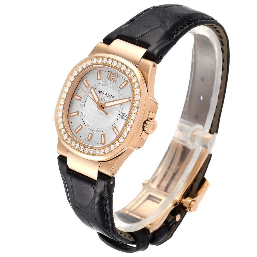 Patek Philippe Nautilus Rose Gold Diamond Silver Dial Ladies Watch 7010 SwissWatchExpo