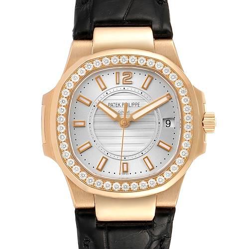 Photo of Patek Philippe Nautilus Rose Gold Diamond Silver Dial Ladies Watch 7010