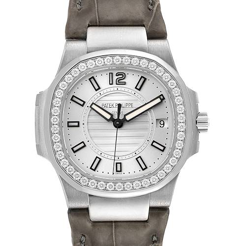 Photo of Patek Philippe Nautilus White Gold Diamond Grey Strap Ladies Watch 7010