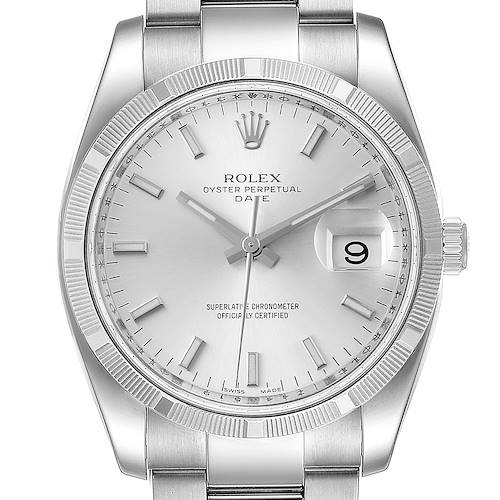 Photo of Rolex Date Silver Dial Oyster Bracelet Steel Mens Watch 115210 Box Papers