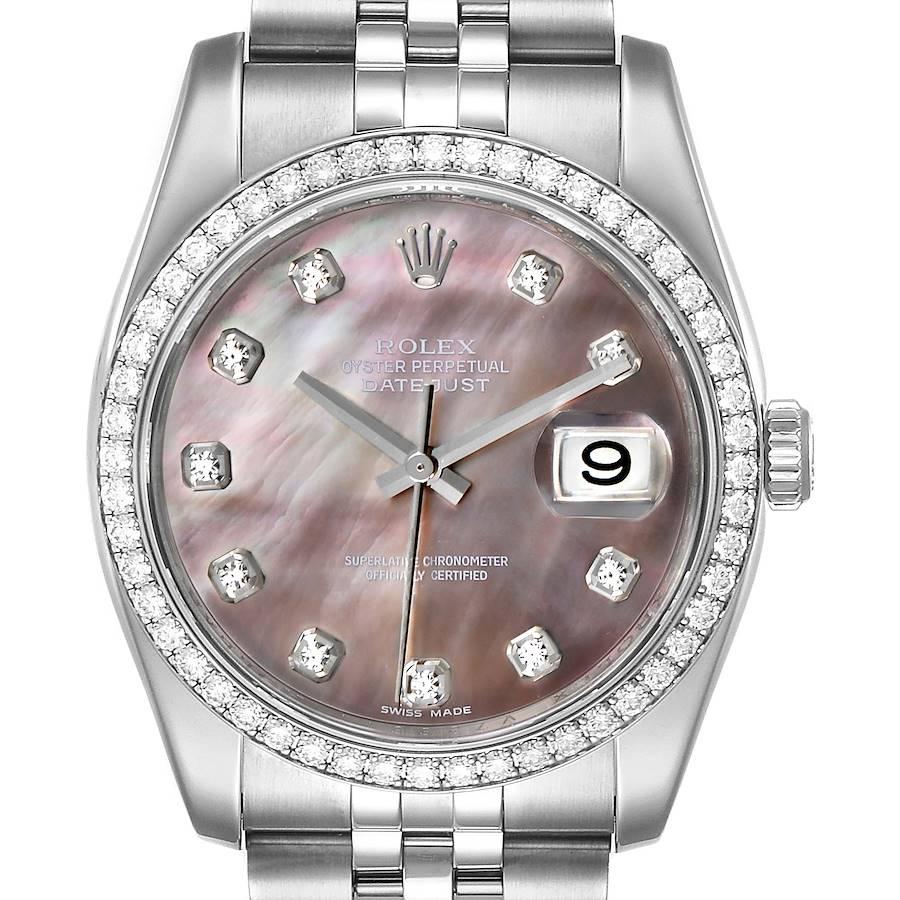 Rolex Datejust Black MOP Diamond Dial Bezel Steel Mens Watch 116244 Box SwissWatchExpo