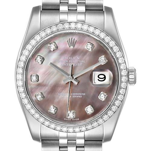 Rolex Datejust Black MOP Diamond Dial Bezel Steel Mens Watch 116244 Box