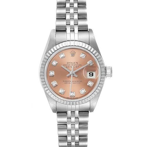 Photo of Rolex Datejust Steel White Gold Salmon Diamond Dial Ladies Watch 79174 Box