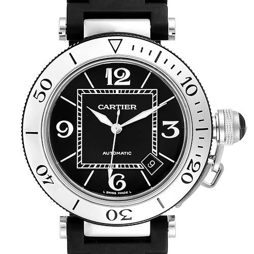 Photo of Cartier Pasha Seatimer Black Rubber Strap Steel Mens Watch W31077U2