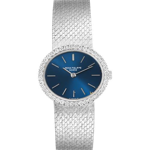 Patek Philippe Blue Dial White Gold Diamond Cocktail Ladies Watch 4175