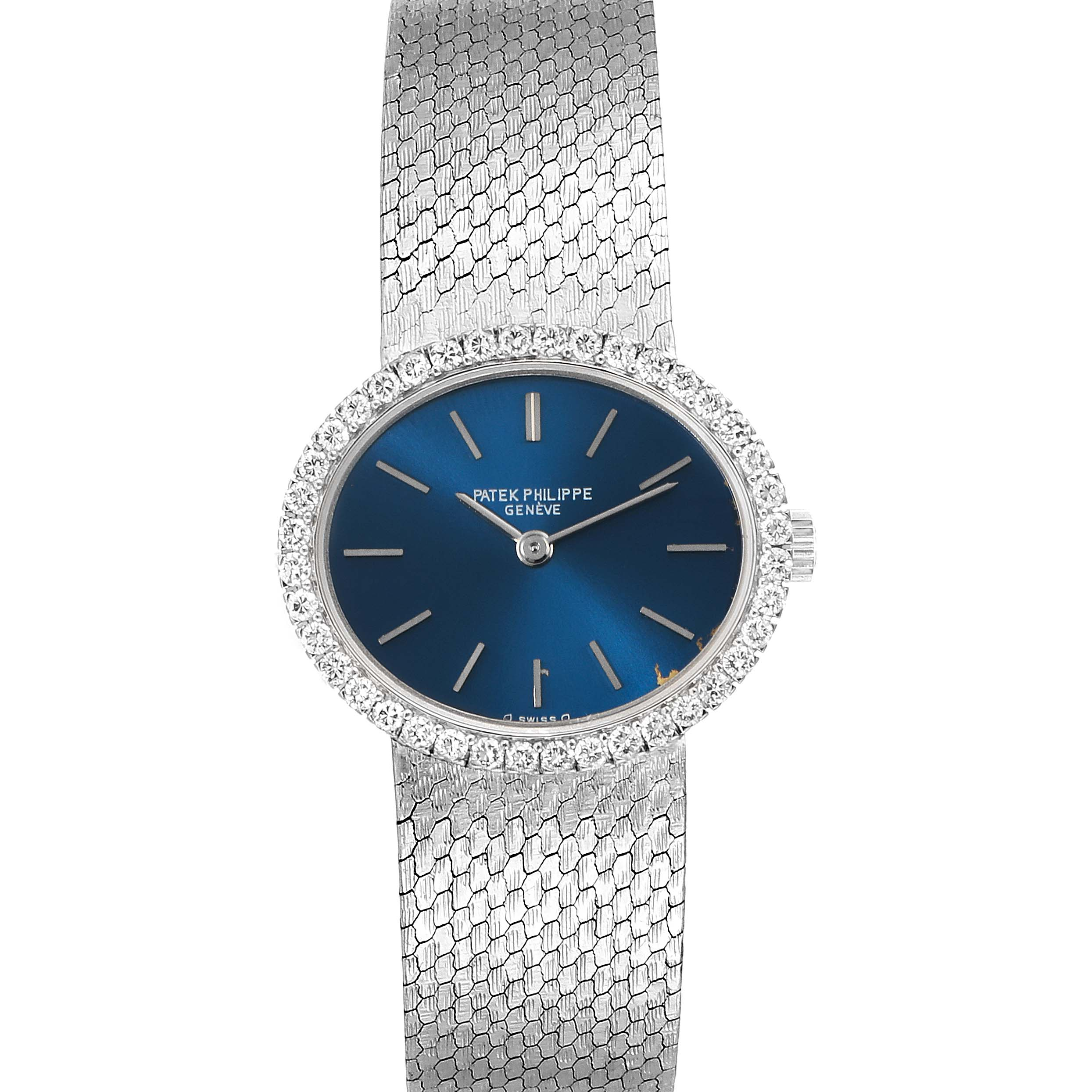 Patek Philippe Blue Dial White Gold Diamond Cocktail Ladies Watch 4175 SwissWatchExpo
