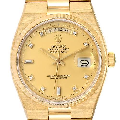 Photo of Rolex Oysterquartz President Day-Date Yellow Gold Diamond Watch 19018 Box