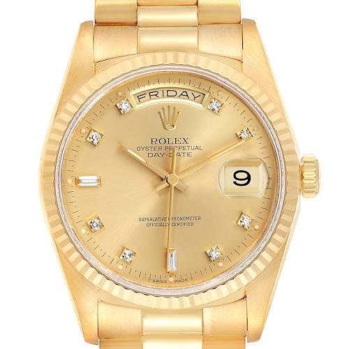Photo of Rolex President Day-Date 36mm Yellow Gold Diamond Mens Watch 18238 Box