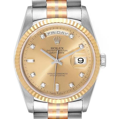 Photo of Rolex President Day-Date Tridor White Yellow Rose Gold Diamond Watch 18239 Box