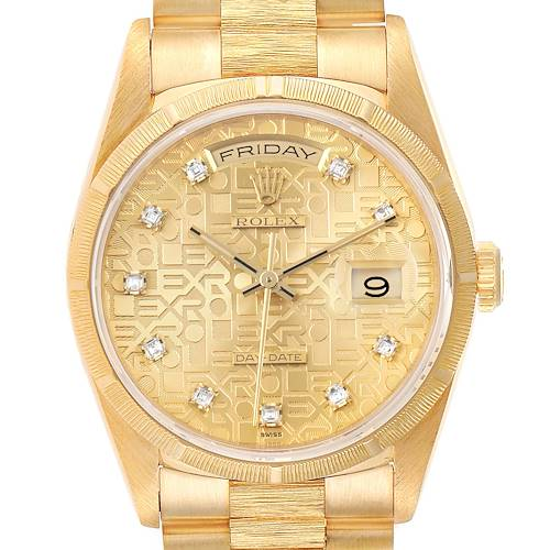 Photo of Rolex President Day-Date Yellow Gold Bark Diamond Dial Mens Watch 18248