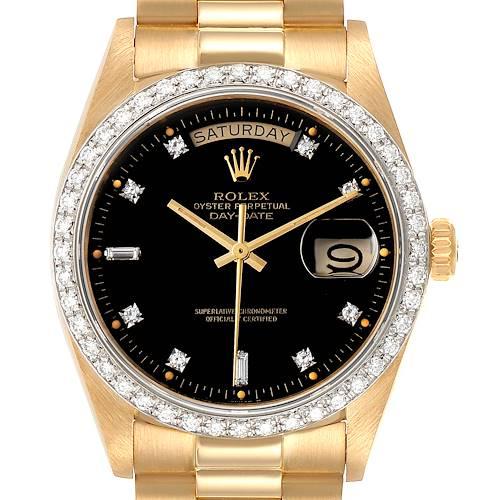 Photo of Rolex President Day-Date Yellow Gold Black Dial Diamond Bezel Watch 18048 Box