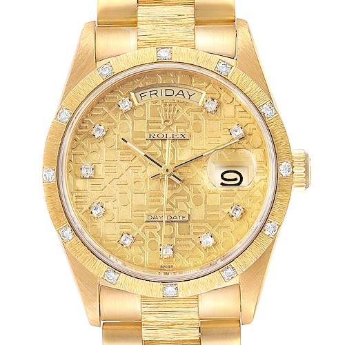 Photo of Rolex President Day Date Yellow Gold Diamond Mens Watch 18108
