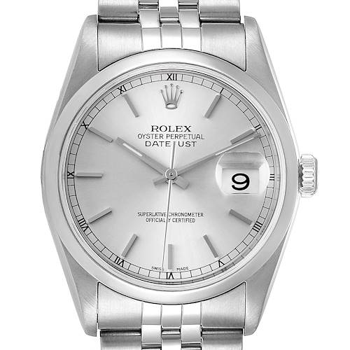Photo of Rolex Datejust 36 Silver Baton Dial Steel Mens Watch 16200