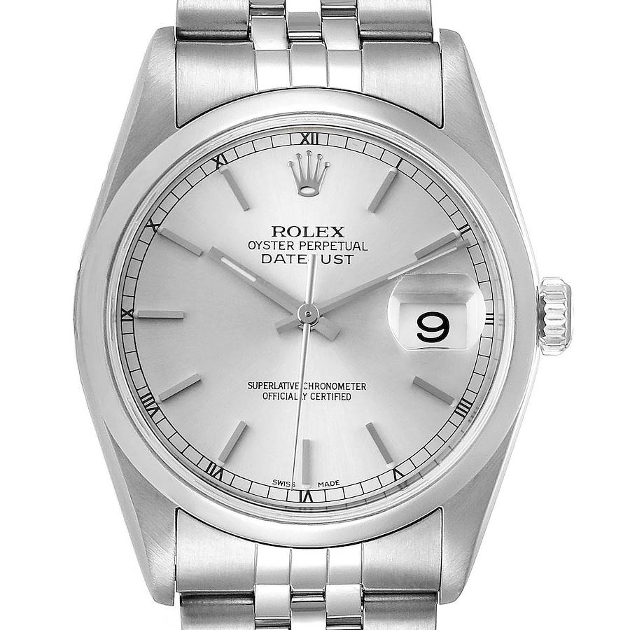 Rolex Datejust 36 Silver Baton Dial Steel Mens Watch 16200 SwissWatchExpo