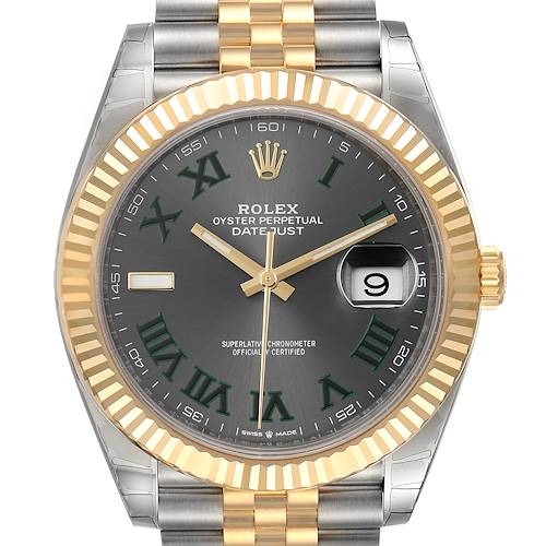 Photo of Rolex Datejust 41 Steel Yellow Gold Grey Dial Green Numerals Mens Watch 126333