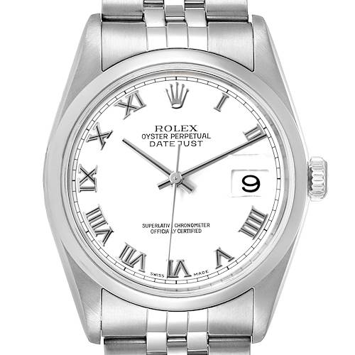 Photo of Rolex Datejust White Roman Dial Oyster Bracelet Steel Mens Watch 16200 Box