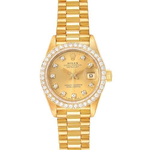 Photo of Rolex President Datejust Yellow Gold Diamond Ladies Watch 69138 Box