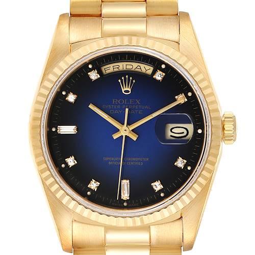 Photo of Rolex President Day-Date Yellow Gold Vignette Diamond Mens Watch 18238 Box