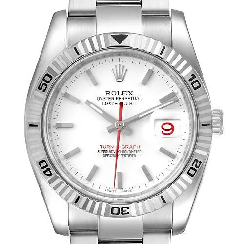 Photo of Rolex Turnograph Steel White Gold Bezel Mens Watch 116264 Box