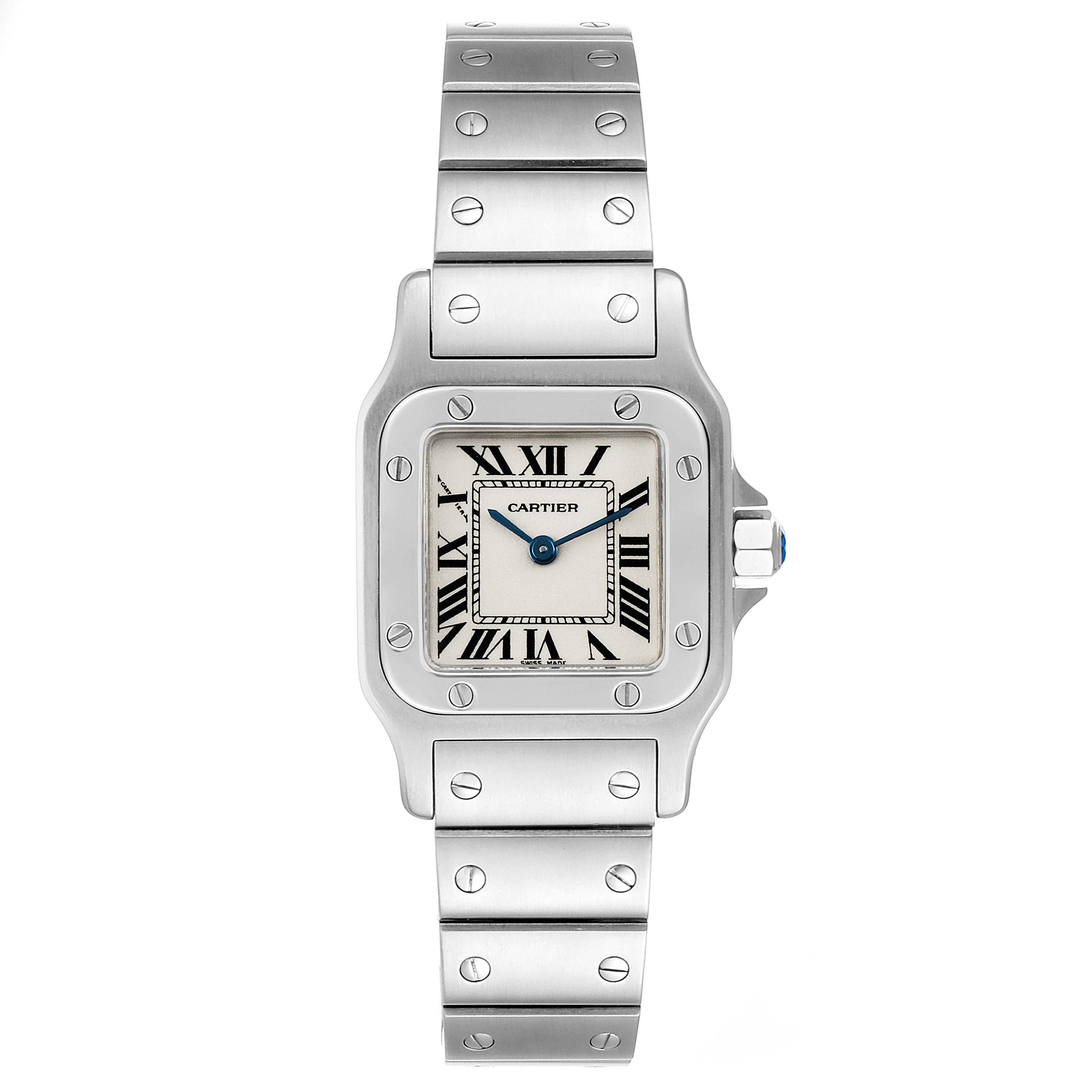 Cartier Santos Galbee Silver Dial Small Steel Ladies Watch W20056D6 Box SwissWatchExpo