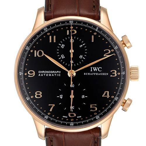 Photo of IWC Portuguese Chrono Automatic 18k Rose Gold Mens Watch IW371482
