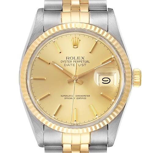 Photo of Rolex Datejust 36 Steel Yellow Gold Vintage Mens Watch 16013 Box