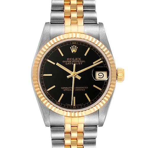 Photo of Rolex Datejust Midsize Steel Yellow Gold Black Dial Ladies Watch 68273 Box