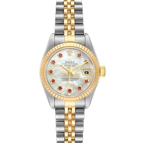 Photo of Rolex Datejust Steel Yellow Gold MOP Ruby Ladies Watch 79173