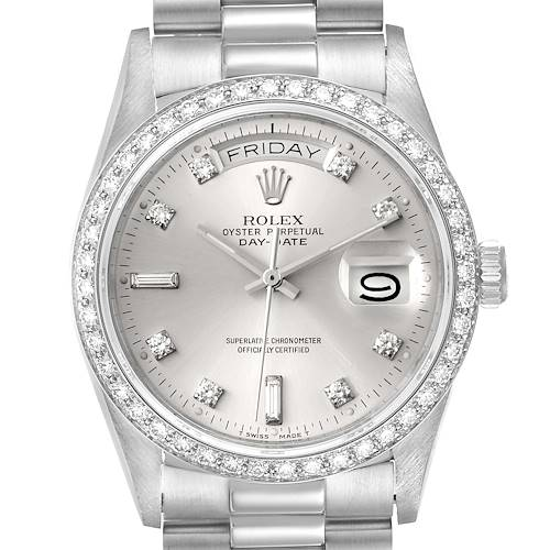 Photo of Rolex President Day-Date Silver Dial Platinum Diamond Mens Watch 18046